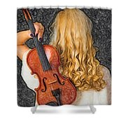 Violin Woman - Id 16218-130709-0128 Shower Curtain