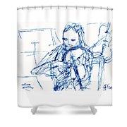 Violinist In Blue II Shower Curtain
