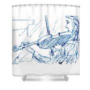 Violinist In Blue Shower Curtain