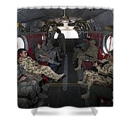 Vips In A Ch-47 Chinook Helicopter Shower Curtain