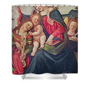 Virgin And Child And Angel Musicians  Shower Curtain by Piero di Cosimo