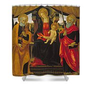 Virgin And Child Between Saint Peter And Saint Paul Shower Curtain