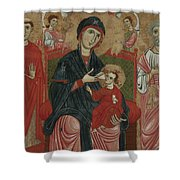Virgin And Child Enthroned With Saints Leonard And Peter And Scenes From The Life Of Saint Peter Shower Curtain