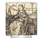 Virgin And Child On A Grassy Bench Shower Curtain