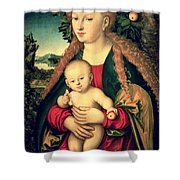 Virgin And Child Under An Apple Tree Shower Curtain
