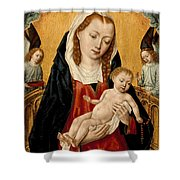 Virgin And Child With Two Angels Shower Curtain