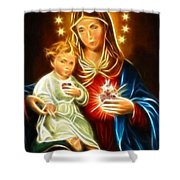 Virgin Mary And Baby Jesus Sacred Heart Shower Curtain