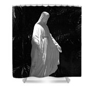 Virgin Mary In Black And White Shower Curtain