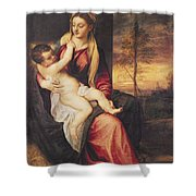 Virgin With Child At Sunset Shower Curtain by Titian