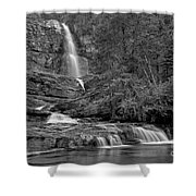 Virgina Falls In The Pool - Black And White Shower Curtain