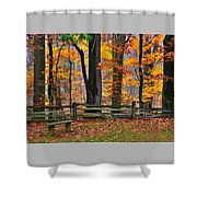 Virginia Country Roads - A Seat With A View - Autumn Colorfest No. 1 Near Mabry Mill - Floyd County Shower Curtain
