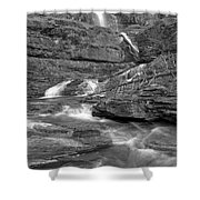 Virginia Falls Glacier Cascades - Black And White Shower Curtain