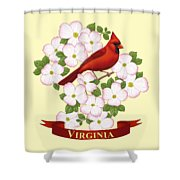 Virginia State Bird Cardinal And Flowering Dogwood Shower Curtain by Crista Forest