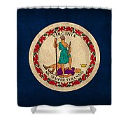 Virginia State Flag Art On Worn Canvas Edition 2 Shower Curtain
