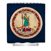 Virginia State Flag Art On Worn Canvas Edition 3 Shower Curtain