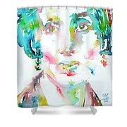 Virginia Woolf Watercolor Portrait Shower Curtain