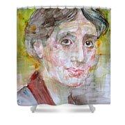 Virginia Woolf - Watercolor Portrait.7 Shower Curtain