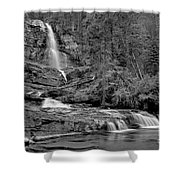 Virgnia Falls Pool - Black And White Shower Curtain