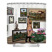 Virtual Exhibition - Girl With Boots Shower Curtain