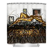 Virtual Exhibition With Birthday Cake Shower Curtain
