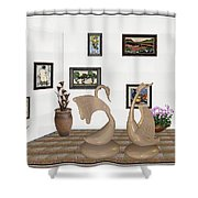 virtual exhibition_Statue of swans 22 Shower Curtain