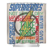 Virtues Of A Superhero Shower Curtain