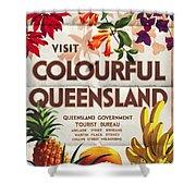 Visit Colorful Queensland - Vintage Poster Folded Shower Curtain