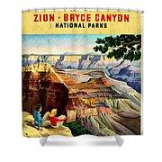 Visit Grand Canyon - Vintgelized Shower Curtain