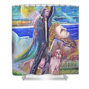 Visiting Star Beings Shower Curtain