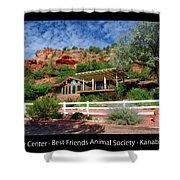 Visitor Center Best Friends Animal Sanctuary Angel Canyon Knob Utah 02 Text Black Shower Curtain