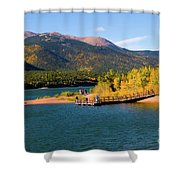 Visitors At Pikes Peak And Crystal Reservoir Shower Curtain