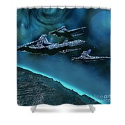 Visitors Shower Curtain by Corey Ford