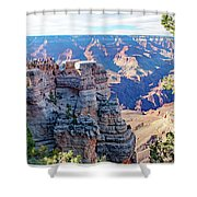 Visitors Dwarfed By Grand Canyon Vista Shower Curtain