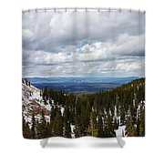 Vista With Snow And Red Rock Shower Curtain