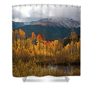 Vivid Autumn Aspen And Mountain Landscape Shower Curtain by Cascade Colors
