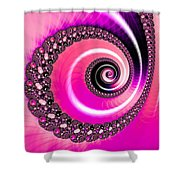 Vivid Pink Fractal Spiral Shower Curtain