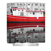 Vivid Rich Red Boat Shower Curtain