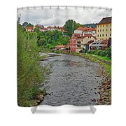 Vltava River As It Runs Slowly Through Cesky Krumlov In The Czech Republic Shower Curtain