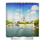 Notre Dame And River Seine Shower Curtain
