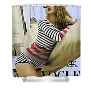 Vogue, Coco Chanel, Vintage Nautical Look, Yatching Shower Curtain
