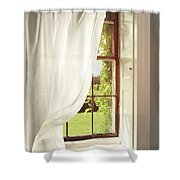 Voile Curtains Blowing In The Breeze Shower Curtain