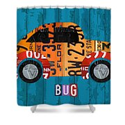 Volkswagen Vw Bug Vintage Classic Retro Vehicle Recycled License Plate Art Usa Shower Curtain