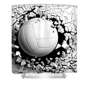 Volleyball Ball Breaking Forcibly Through A White Wall. 3d Illustration. Shower Curtain