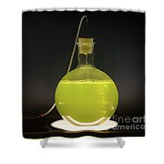 Volumetric Flask With Green Liquid Chemical Experiment Shower Curtain