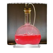 Volumetric Flask With Pink Liquid Chemical Experiment Shower Curtain