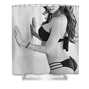 Voula Black And White Bikini Shower Curtain