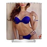 Voula Blue Bikini Shower Curtain