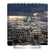 Vue De La Butte Montmartre.roofs Of Paris Shower Curtain