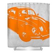 Vw Beetle Orange Shower Curtain by Naxart Studio