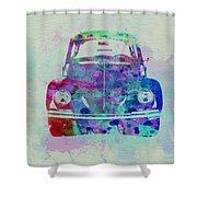 Vw Beetle Watercolor 2 Shower Curtain by Naxart Studio